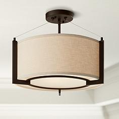 Flush mount ceiling lights lamps plus stinson 17 14 wide linen and bronze 3 light ceiling light aloadofball Images