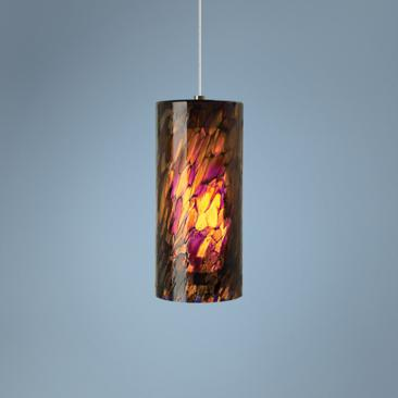 "LBL Abbey Grande 6 1/2"" Wide Amber-Purple Glass Pendant"