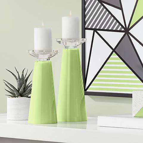 Meghan Lime Rickey Glass Pillar Candle Holders Set of 2