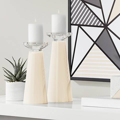 Meghan Steamed Milk Glass Pillar Candle Holder Set of 2