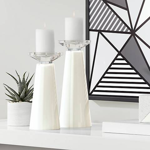 Meghan West Highland White Pillar Candle Holders Set of 2