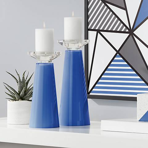 Meghan Dazzling Blue Glass Pillar Candle Holder Set of 2