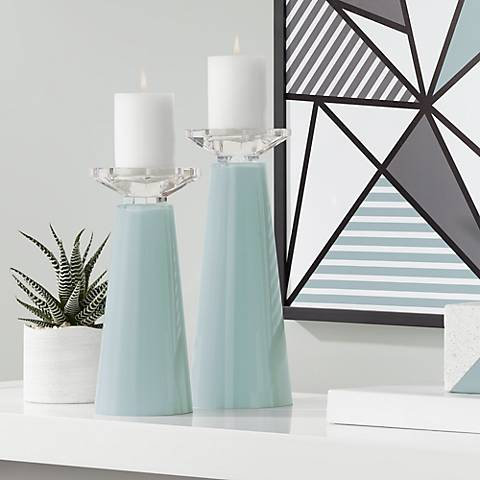 Meghan Aqua-Sphere Glass Pillar Candle Holder Set of 2