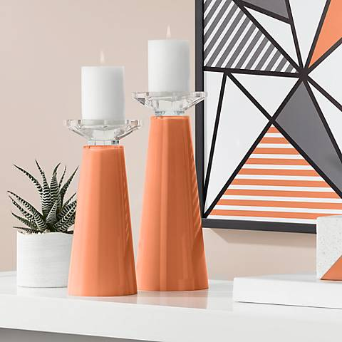 Meghan Robust Orange Glass Pillar Candle Holder Set of 2