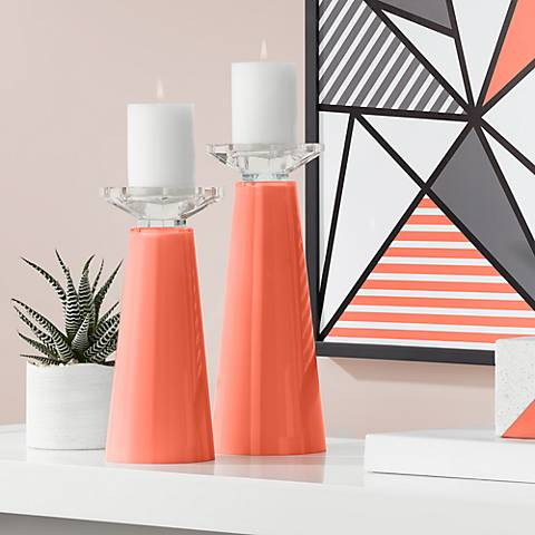 Meghan Daring Orange Glass Pillar Candle Holders Set of 2