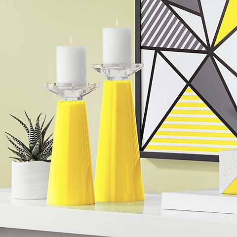 Meghan Citrus Glass Pillar Candle Holder Set of 2