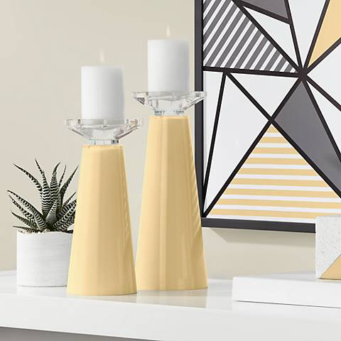 Meghan Humble Gold Glass Pillar Candle Holders Set of 2
