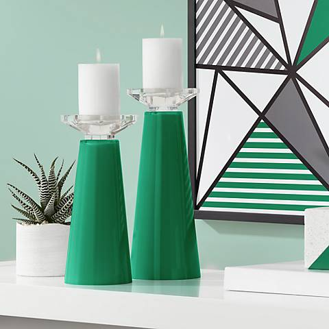 Meghan Greens Glass Pillar Candle Holder Set of 2