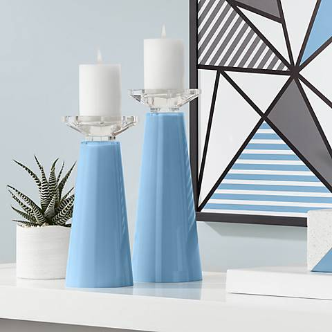 Meghan Secure Blue Glass Pillar Candle Holder Set of 2