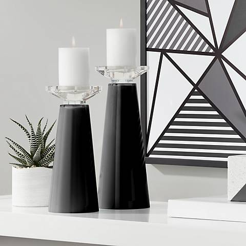 Meghan Tricorn Black Glass Pillar Candle Holder Set of 2
