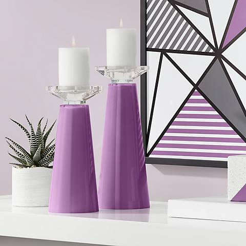 Meghan Kimono Violet Glass Pillar Candle Holder Set of 2