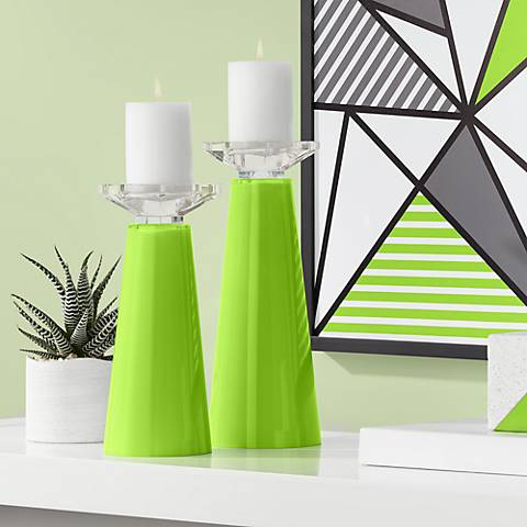 Meghan Neon Green Glass Pillar Candle Holder Set of 2