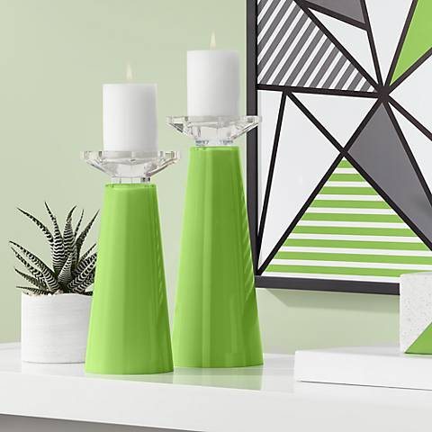 Meghan Rosemary Green Glass Pillar Candle Holder Set of 2