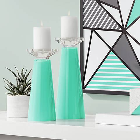 Meghan Turquoise Glass Pillar Candle Holder Set of 2