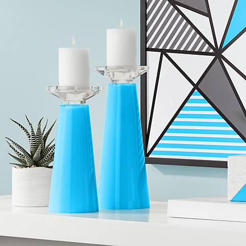 Meghan Sky Blue Glass Pillar Candle Holder Set of 2