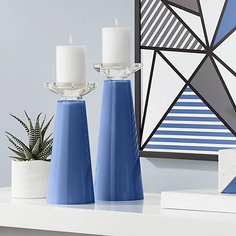 Meghan Monaco Blue Glass Pillar Candle Holder Set of 2