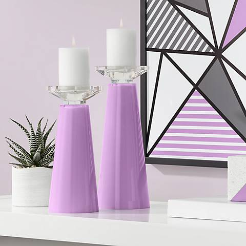Meghan African Violet Glass Pillar Candle Holder Set of 2