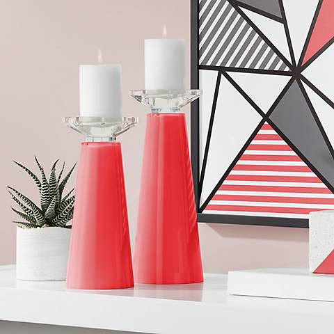 Meghan Poppy Red Glass Pillar Candle Holder Set of 2