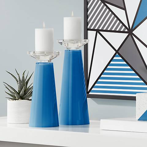 Meghan Hyper Blue Glass Pillar Candle Holders Set of 2