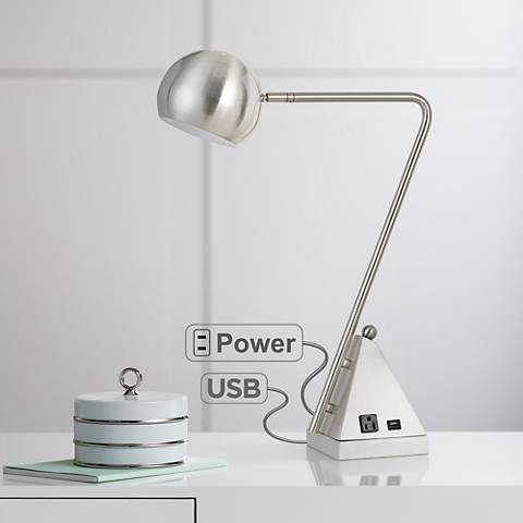 Delta Brushed Steel Metal Desk Lamp