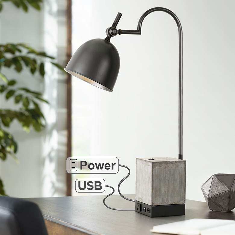 Beaumont Black and Cement Desk Lamp