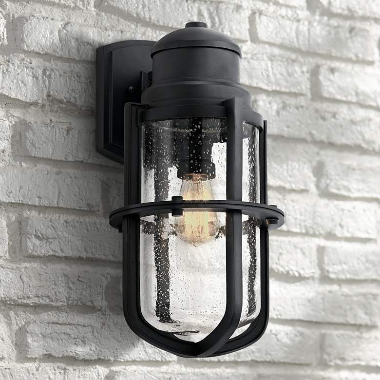 "Kichler Suri 17 1/2"" High Textured Black Outdoor Wall Light"