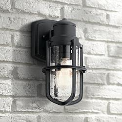 "Kichler Suri 11 1/4"" High Textured Black Outdoor Wall Light"