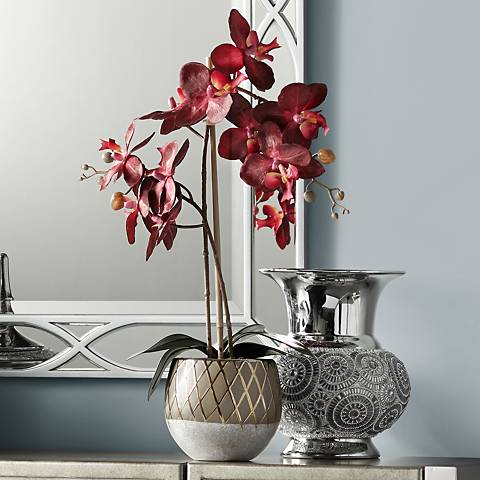 "Red Orchid 23"" High Faux Flowers in Ceramic Pot"