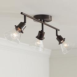 Pro Track Leila 3-Light Bronze Clear Glass Track Fixture