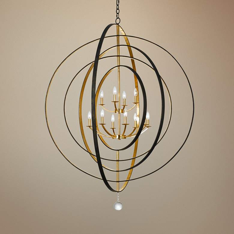 "Crystorama Luna 60""W Bronze-Gold 12-Light Large Chandelier"