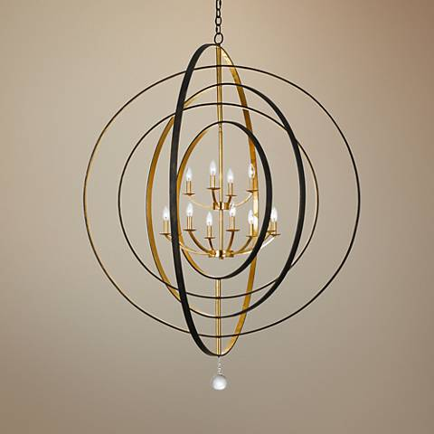 "Crystorama Luna 60"" Wide Bronze and Gold 12-Light Chandelier"