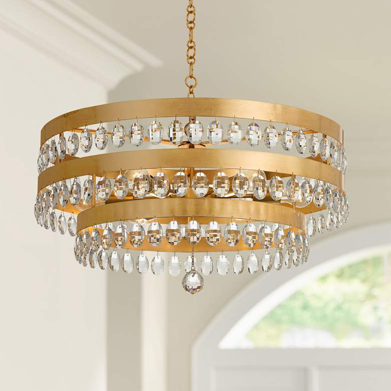 "Crystorama Perla 26""W Antique Gold and Crystal Chandelier"