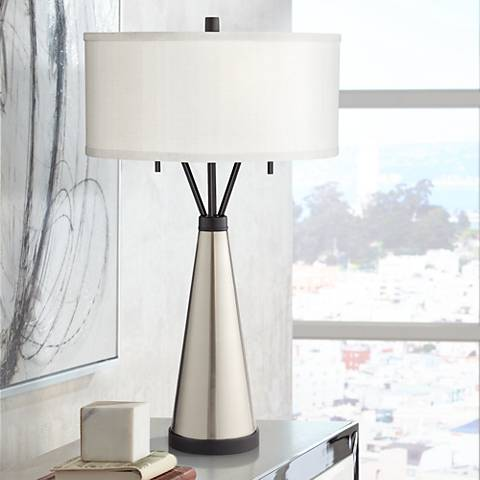 Kathy Ireland Oakland Brushed Nickel and Steel Table Lamp