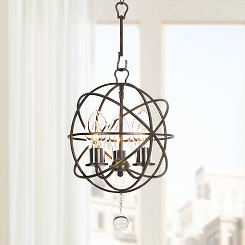 "Solaris 12""W English Bronze 3-Light Outdoor Mini Chandelier"