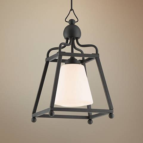 "Crystorama Sylvan 9 1/4""W Black Forged Outdoor Mini Pendant"