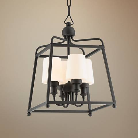 "Sylvan 13 1/2"" Wide Black Forged 4-Light Outdoor Chandelier"