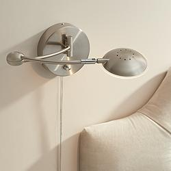 Kristos Satin Nickel LED Rounded Head Swing Arm Wall Lamp