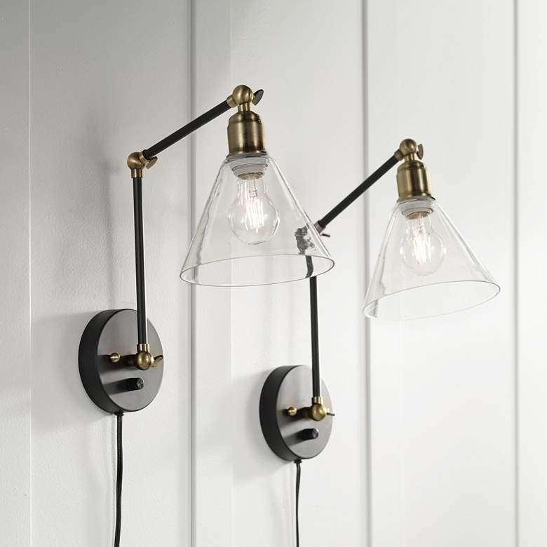 Wray Black and Brass Glass Shade Plug-In Wall Lamp Set of 2