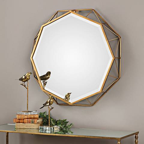 "Uttermost Mekhi Gold Leaf 30"" x 30"" Wall Mirror"