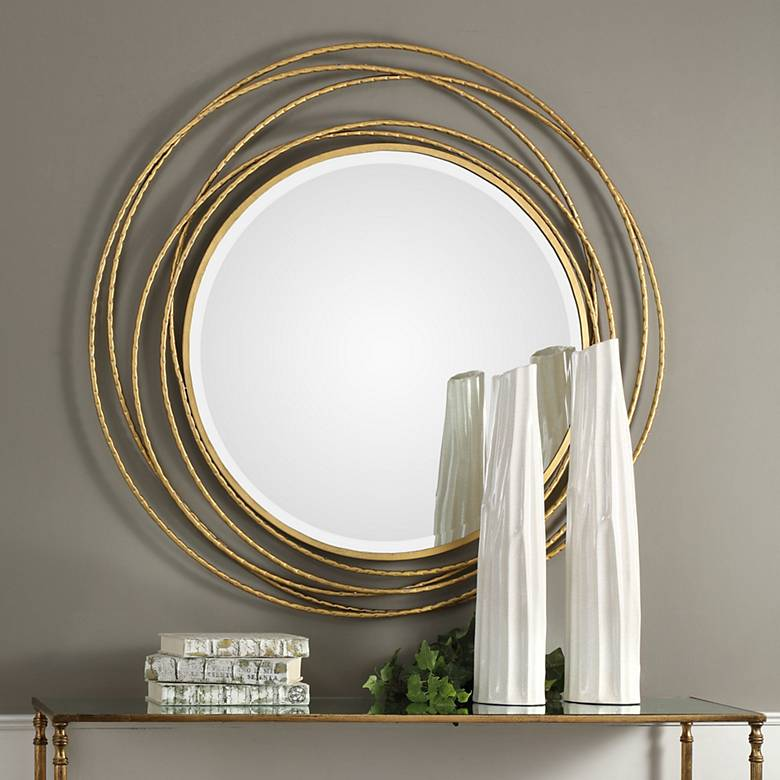 "Whirlwind Metallic Gold Leaf 39 1/4"" Round Wall Mirror"