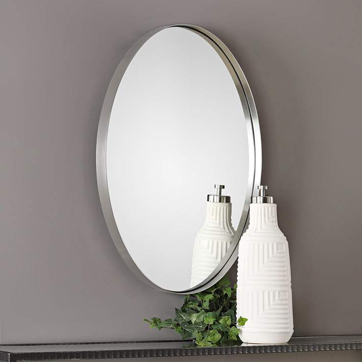 Pursley Brushed Nickel 20 X 30 Oval Wall Mirror 40r51 Lamps Plus