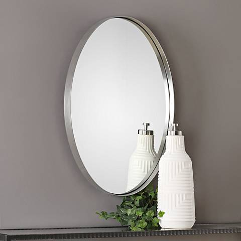 "Pursley Brushed Nickel 20"" x 30"" Oval Wall Mirror"