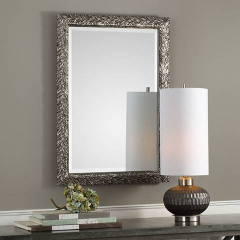 "Evelina Metallic Silver 24 3/4"" x 34 3/4"" Wall Mirror"