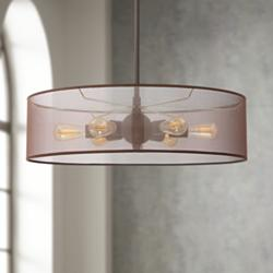 "Favreau 27"" Wide Oiled Bronze 6-Light LED Drum Shade Pendant"