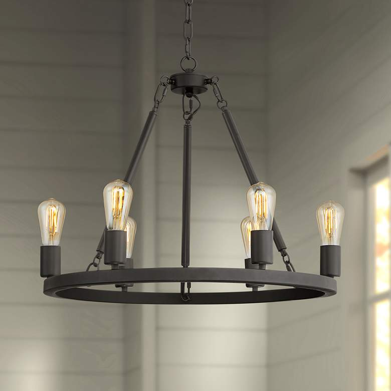 "Daniel 24 1/2"" Wide Matte Black 6-Light Chandelier"