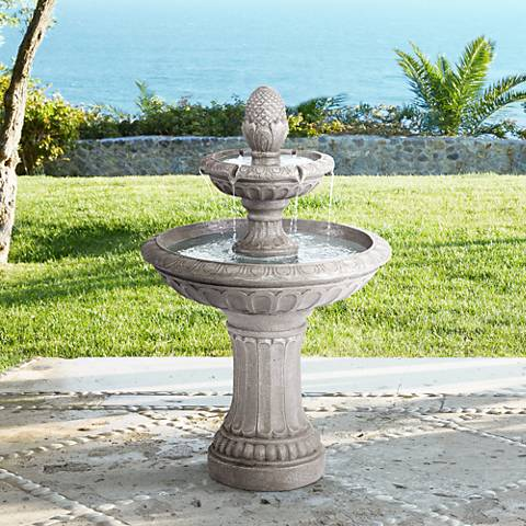 "Dela 35 1/2"" High Faux Stone Two-Tier Outdoor Floor Fountain"