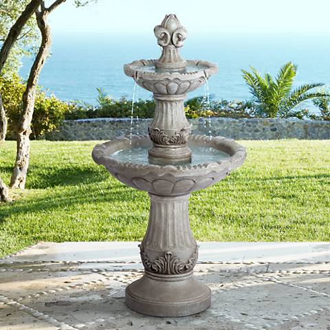 "Reneta 51"" High Faux Stone Three-Tier Outdoor Floor Fountain"