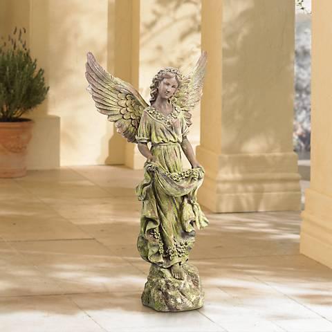 "Angel 31"" High Bronze and Green Moss Indoor-Outdoor Statue"