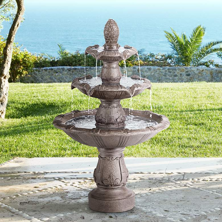 "Peta 41"" High Aged Bronze Three-Tier Indoor/Outdoor Fountain"