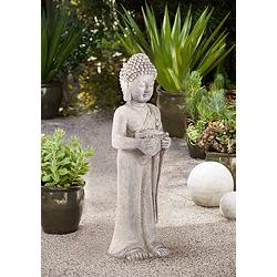 "Standing Buddha 32"" High Gray Indoor-Outdoor Statue"